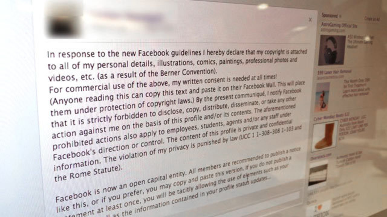 Stop! Don't Copy and Paste that 'Copyright' Facebook Message