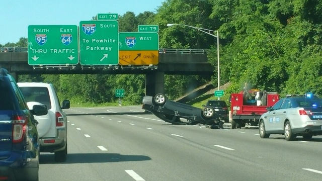 Car overturns in accident on I-95 south near Bryan Park
