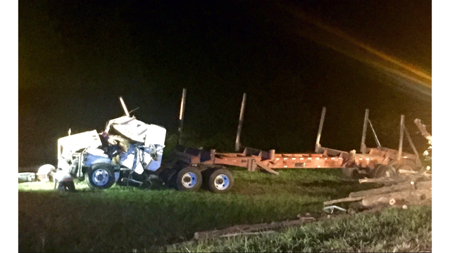1 man dead, woman hospitalized after log truck overturns on Route 460 in Dinwiddie County