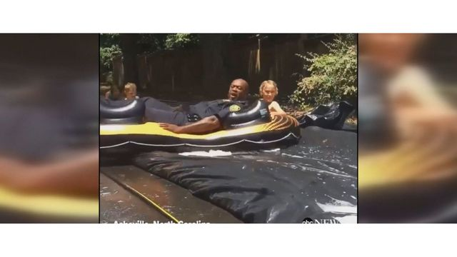 Police in North Carolina respond to call, end up joining in on Slip 'N Slide