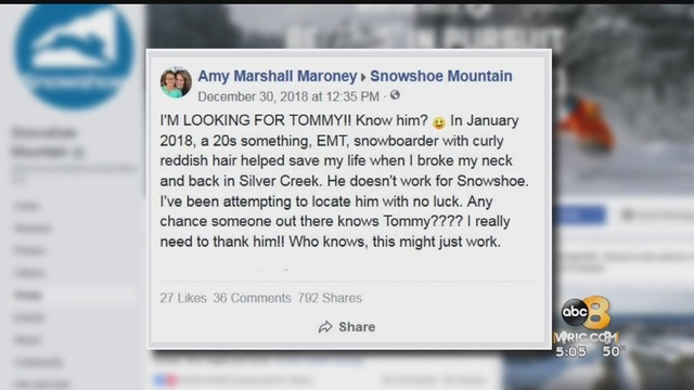 He saved my life': Henrico woman looking for guardian angel on snowboard