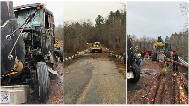Driver charged after log truck overturns, spills load in Nottoway County