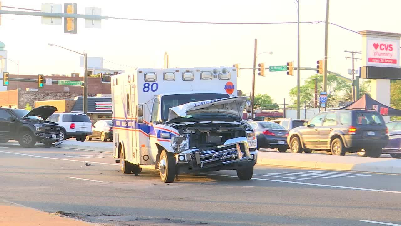 RAW VIDEO: Ambulance involved in multi-vehicle crash on West Broad