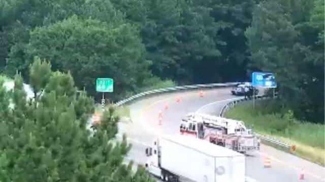 Tractor-trailer crash leads to massive fuel spill, closes Bells Road exit